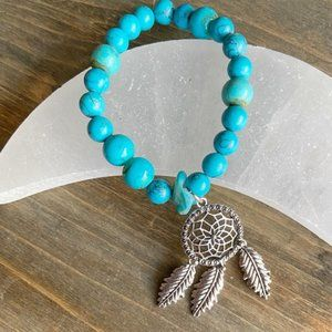 DREAMCATCHER TURQUOISE BEADS SILVER CHARM BRACELET